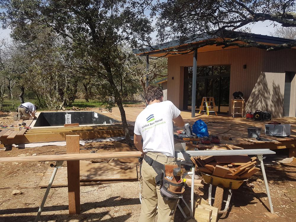 chantier maison bois Grigan